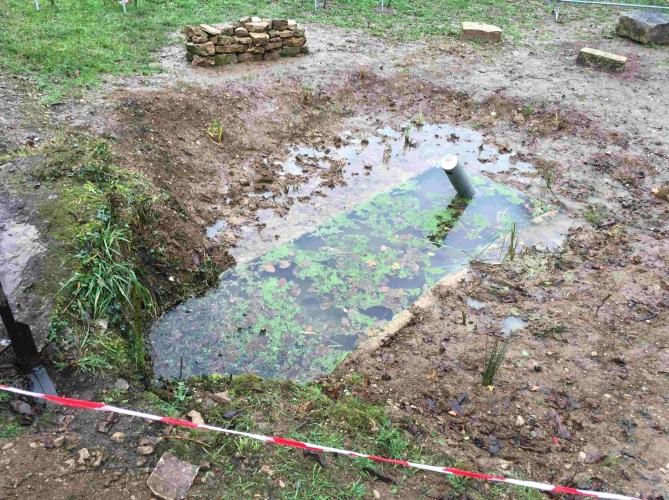La mare, le lendemain du chantier  : le niveau d'eau monte, comme prévu